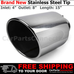 Angled Polish 15 Inch Bolt On Exhaust Tip 4 In 8 Out Stainless Truck 203087