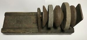 Primitive Antique John A Wilkinson Knife Sharpening Grinding Stone Wooden Block