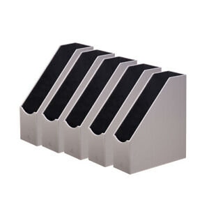 Set Of 10 Grey Magazine File Holder Collection Home Office Pu Leather Organizer