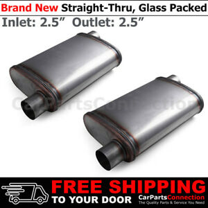 2 5 Inches Offset In out Stainless Steel Straight thru Street Muffler X2 200583
