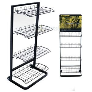 Wire 4 Tier Shelf Display Rack Multi Purpose Black Store Market Storage Retail