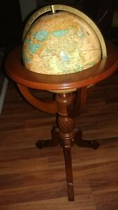 Antique World Globe 38 With Wooden Carved Floor Stand Authentic Model Gl047