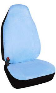 Machine Washable Velour Car Front Seat Covers Universal Fit With Light Blue