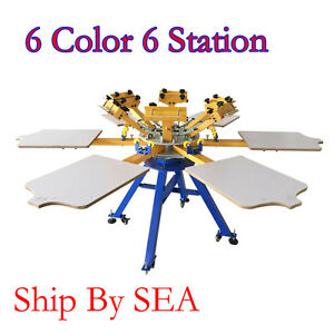 6 Color 6 Station Screen Printing Machine Carousel Press T shirt Printer By Sea