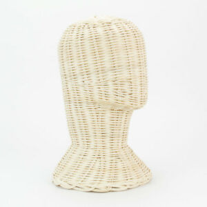 12 Vintage Head Display Stand Rattan Wicker Hat Wig Mannequin Sunglasses Rift