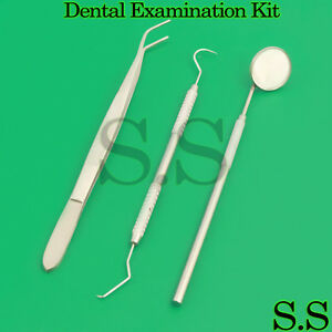 Dental Examination Kit Explorer Mouth Mirror With Handle College Tweezer 10 Sets
