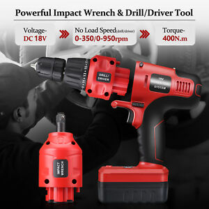 18v Cordless Impact Wrench Drill Driver Tool Set With 1 5ah Rechargeable Battery