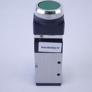 5 2 Way Pneumatic Valve With Push Button In Green 1 4 Npt Msv86522pp