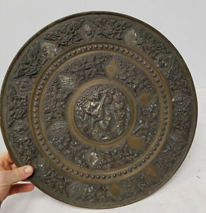 Antique Vintage Indian South East Asian Bronze Charger Silver Repousse Work