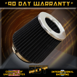 Chrome Black 4 Inch Universal Performance High Flow Jdm Cone Air Filter Intake