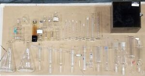 38 Piece Set Of Glass Lab Equip Beakers Conical Flasks Extractors Condenser