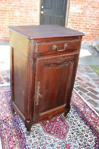 Antique French Carved Oak Louis Xv Left Top Solid Wood Small Single Door Cabinet