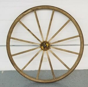 Antique 1800s Wood 12 Spoke 48 Wagon Wheel Yellow Superb Condition