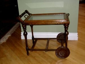 Tea Serving Cart Child S Antique Two Wheels Wood Removable Glass And Wood Tray