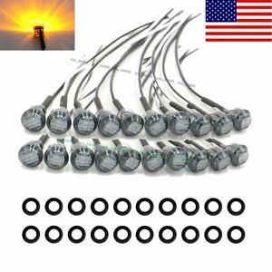 20x Mini Black Smoked Amber 3 4 Round Side 3 Led Marker Trailer Truck Light Us