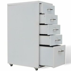 Metal Filing Cabinet With 5 Drawers Stationary Office Storage Gray Us Stock