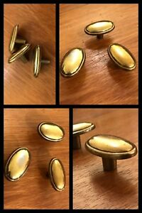 3 Knobs Oval Brass Tone Cabinet Drawers Pulls Mid Century Antique Old Vintage