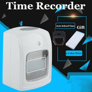 Electronic Time Clock Punch Card Machine Work Hours Payroll Recorder Monitoring