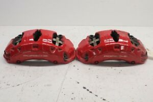 2011 Porsche Cayenne S 958 Turbo Front Brake Calipers Pair Set Red Brembo