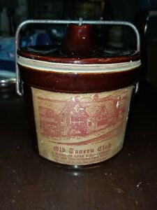 Danny Thomas Vintage Lg Old Tavern Brown Cheese Stoneware Crock With Hinged Lid
