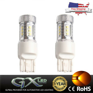 Us 2xyellow amber Car 80w 7443 T20 Car Led Backup Reverse Light 7440 Canbus Drl