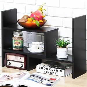 Desk Organizer File Drawer Office Supplies Adjustable Bookshelf Book Shelf Black