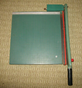 Vintage Martin Yale Paper Cutter Guillotine 215 Wood Trimmer People 15 Usa