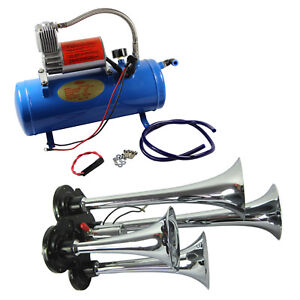 Kit 12 Volt 4 Trumpet Air Horn 125 Psi Compressor 3ft Hose 150 Db Train Truck