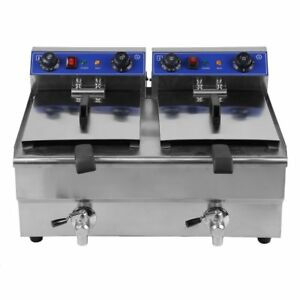 26l Dual Tanks Electric Deep Fryer Commercial Tabletop Fryer nasket Scoop Ec