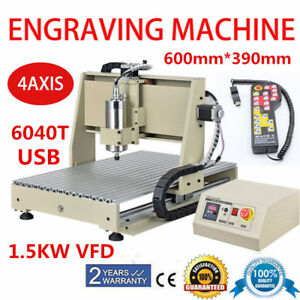 Usb 6040 4 Axis Cnc Router Engraver 1500w Vfd Engraving Milling mach3 Controller