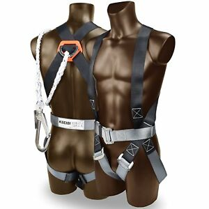 Safety Fall Protection Kit Full Body Harness W 6 Shock absorbing Safety Lanyard