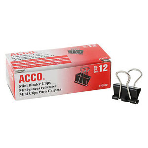 Acc72010 20dz black silver Mini Binder Clips 20 Packs Of 12