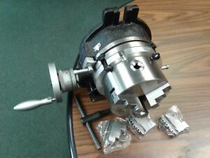 6 Horizontal Vertical Rotary Table W Adapter 3 jaw Chuck in tsl6 c5 new