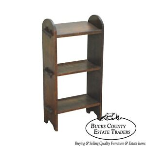 Antique Oak Arts Crafts Mission Style Small Bookcase Stand