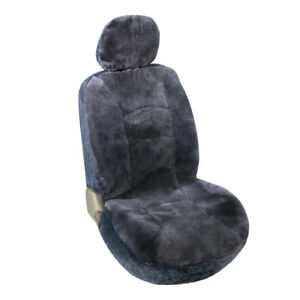 1pc Gray Genuine Sheepskin Front Seat Covers Low Back Fit Most Car Universal Fit