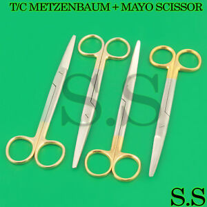New 4 Ea Surgical Operating Medical Mayo Scissors Straight curved 6 75