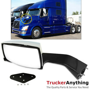 Hood Mirror Assy Volvo Vnl 2004 2016 Left Driver Manual Chrome Front Side View