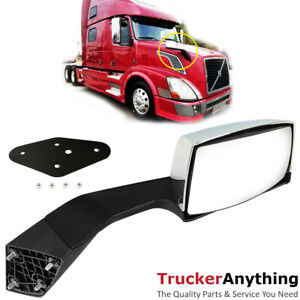 Hood Mirror Assy Volvo Vnl 04 15 Right Passenger Manual Chrome Front Side View