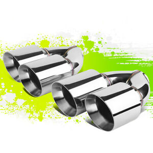 2pcs Polished Stainless Steel Dual Rolled Exit Exhaust Mufffler Tips 2 5 id 4 od