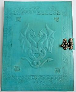 Handmade Leather Journal Notebook Diary Turquoise Embossed Dragon Plan Paper