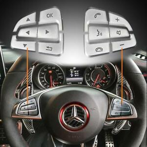 12pcs Steering Wheel Button Cover Trims For Mercedes Benz Gle Gls A B C Gla Cls