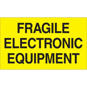 Tape Logic Labels fragile Electronic Equipment 3 X 5 Fluorescent Yellow 500