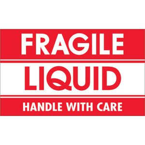 Tape Logic Labels fragile Liquid Handle With Care 3 X 5 Red white 500 ro