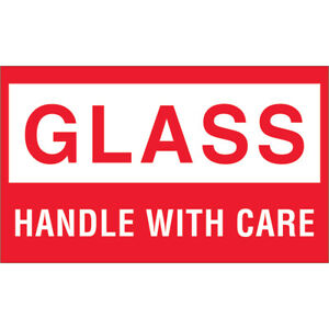 Tape Logic Labels glass Handle With Care 3 X 5 Red white 500 roll Dl1060