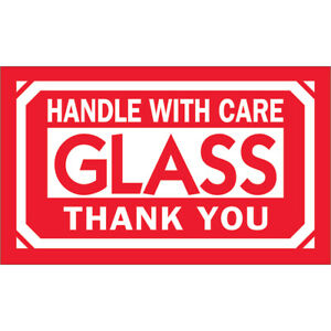 Tape Logic Labels glass Handle With Care 3 X 5 Red white 500 roll Dl1230