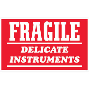Tape Logic Labels fragile Delicate Instruments 3 X 4 Red white 500 roll