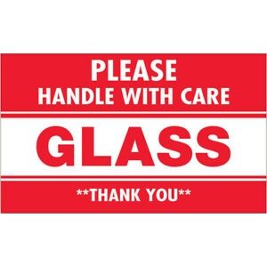 Tape Logic Labels glass Please Handle With Care 3 X 5 Red white 500 roll