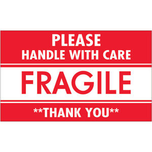 Tape Logic Labels fragile Handle With Care 3 X 5 Red white 500 roll Scl536