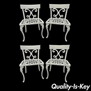 Neoclassical Regency Style Cast Aluminum Garden Patio Dining Chairs Vtg Set Of 4