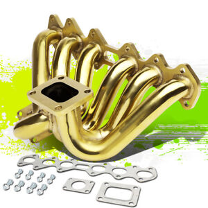 Stainless Steel Gold T4 Flange Turbo Manifold For 93 98 Toyota Supra 2jzgte 3 0l